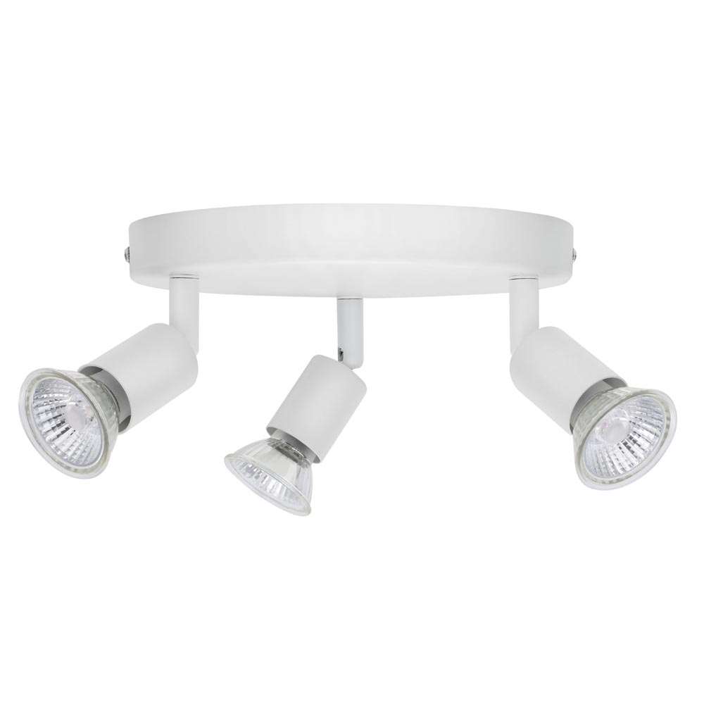 Luna GU10 Ceiling Spotlight - Triple IP20 Rated White