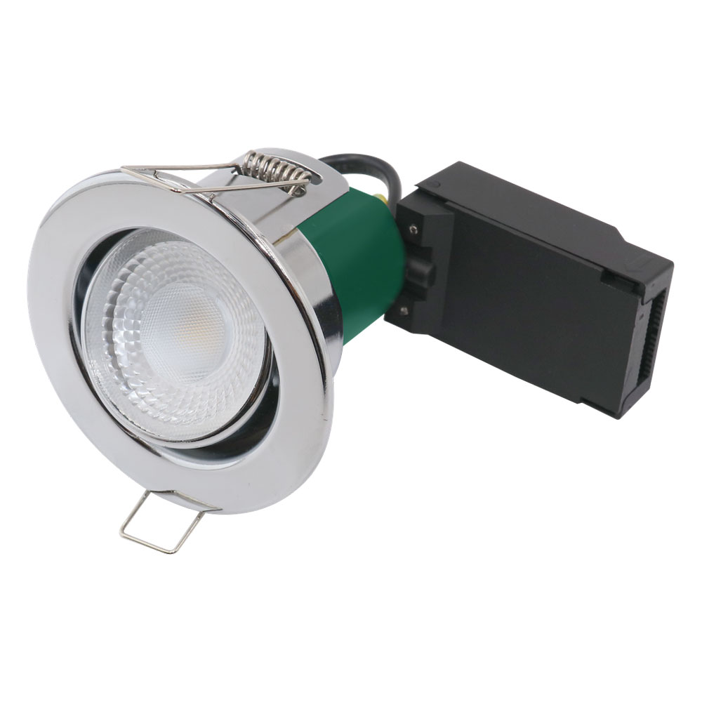 LED Tilting Fire Rated Downlight 5W 3000K IP65 Chrome