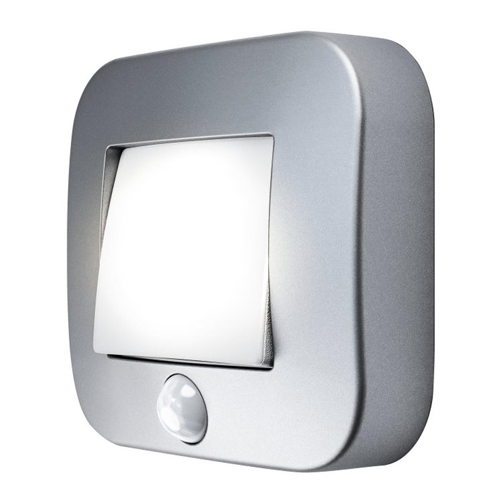 LED Nightlux Battery Powered Hall Light with Sensor and Tilt Function Silver