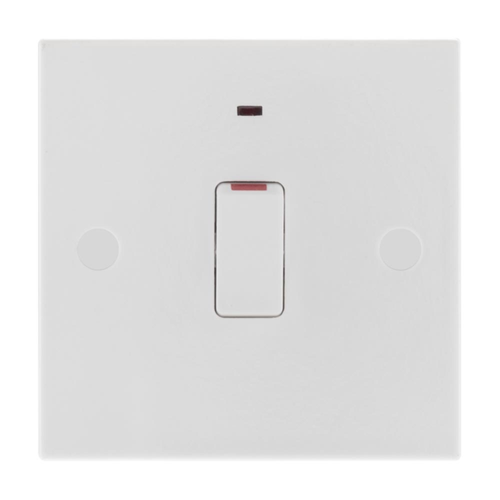 BG Nexus Moulded White Square Edge 20A Double Pole Switch with Indicator