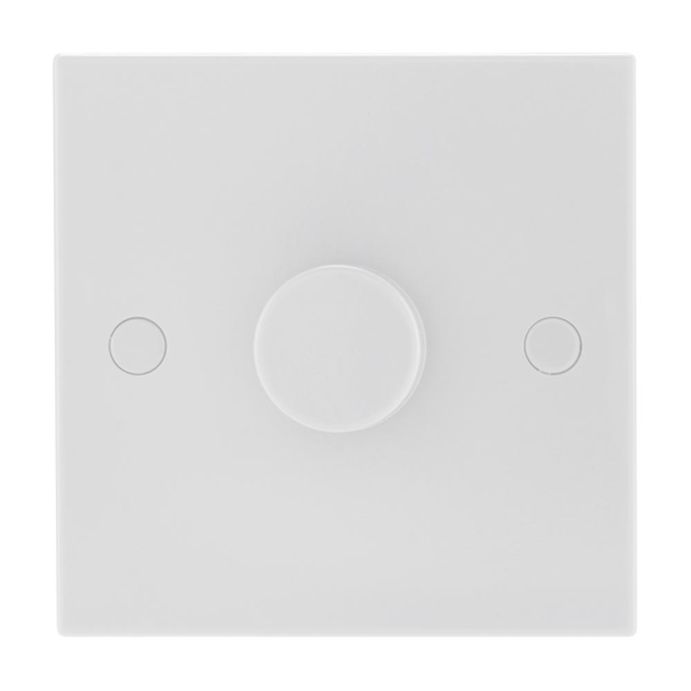 Bg Nexus Moulded White Square Edge Push On Off Led Dimmer Switch 1 2 Way Gang 400w