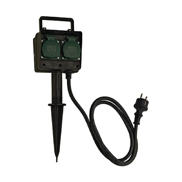 4-socket garden outlet with connection lead and shock-proof 227001 SLV