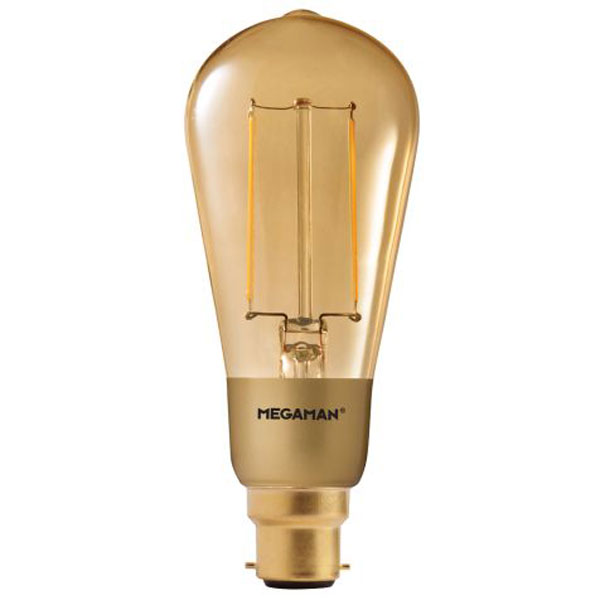 megaman led 3w gold squirrel cage filament lamp b22d 2200k dimmable. Black Bedroom Furniture Sets. Home Design Ideas