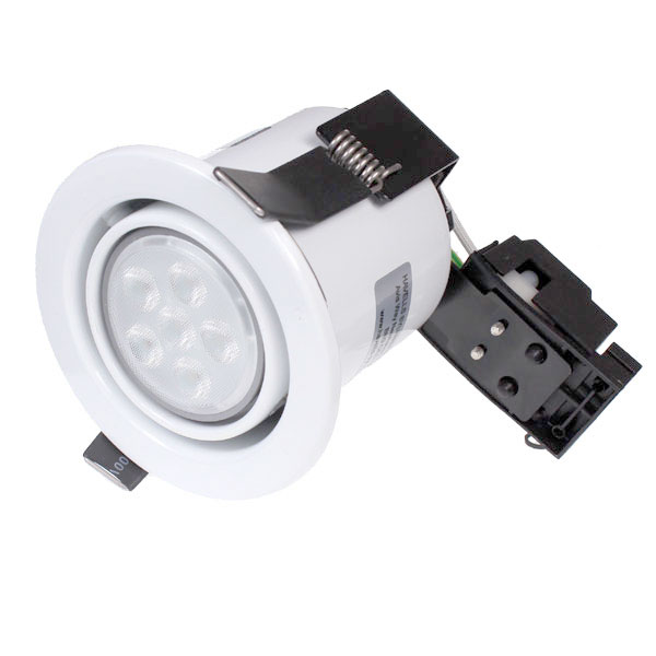 Tilting Fire Rated IP20 LED Downlight in White with an Osram 5.9w 2700K GU10 36 Degree Dimmable