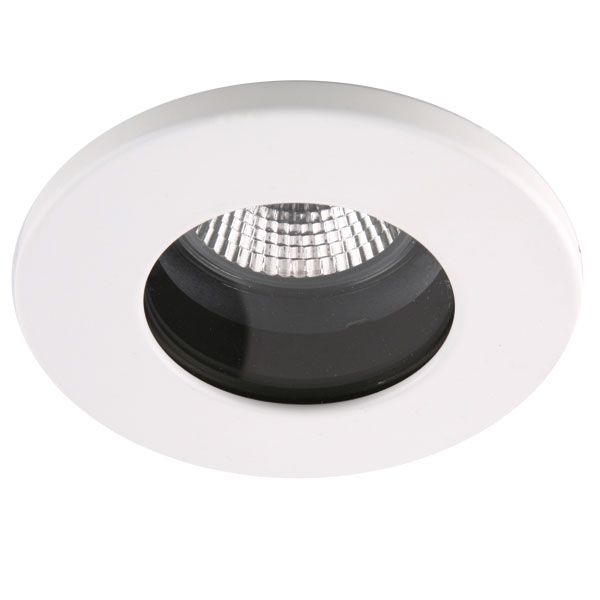 Fire rated ip65 led downlight in white with a osram 4 6w cool white gu10 40 degree dimmable